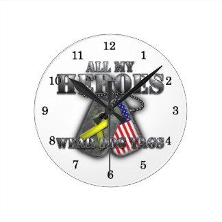 All My Heroes Wear Dog Tags Wall Clocks