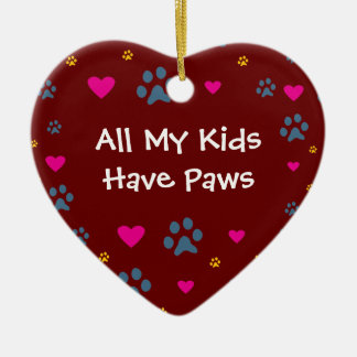 All My Kids-Children Have Paws Ceramic Heart Ornament