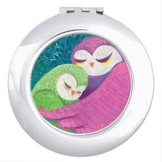 All My Love Original Owl Art Round Compact Mirror