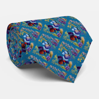 All New Blue and Black Orchid Tie