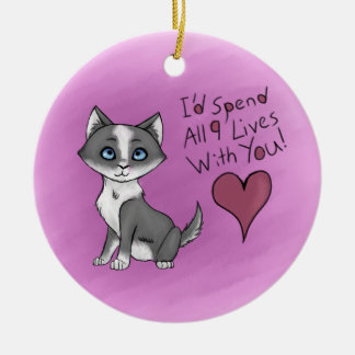 All Nine Lives Round Ceramic Ornament