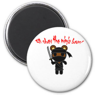 All Obey the Ninja Bear 2 Inch Round Magnet