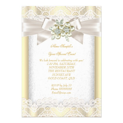 All Occasion Elegant Pearl Jewel Cream Lace Party Custom Announcements