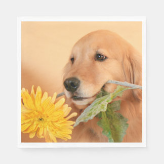 All Occasion Golden Retriever Dog With Flower Disposable Napkins