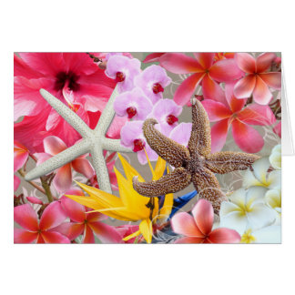 All Occasion Hawaiian Flowers and Starfish Note Card
