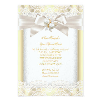 "All Occasion Party Elegant Pearl Jewel Cream Lace 5"" X 7"" Invitation Card"