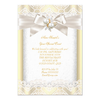 All Occasion Party Elegant Pearl Jewel Cream Lace 5x7 Paper Invitation Card