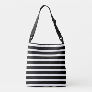 All Over Cross Body Tote - Black Stripe