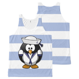 All-Over Design Nautical Penguin Tank Top