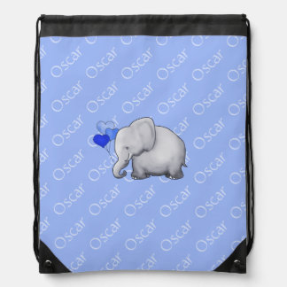 All-Over Name Cute Baby Elephant with Balloon Drawstring Bag