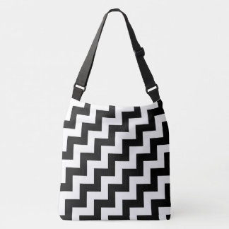 All-Over-Print Black and White Diagonal Zigzags Crossbody Bag