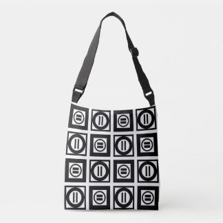 All-Over-Print Black and White Equal Sign Pattern Crossbody Bag