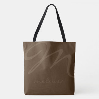 all-over-print brown tote bag with her name