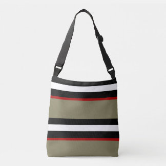 All Over Print Cross Body - Black Red Stripe Crossbody Bag