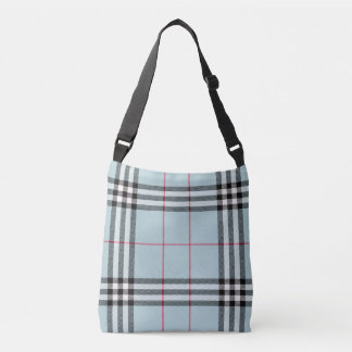 All Over Print Cross Body - Blue Plaid Crossbody Bag