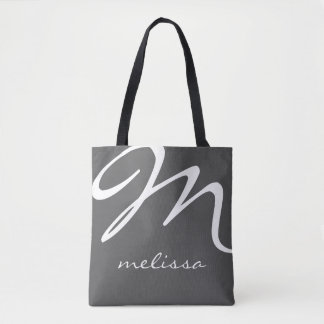 all-over-print gray medium tote bag with name