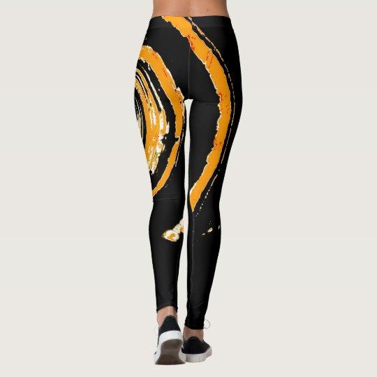 All Over Print Leggings with Orange Yellow Twirl