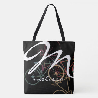 all-over-print medium tote bag with name & bikes