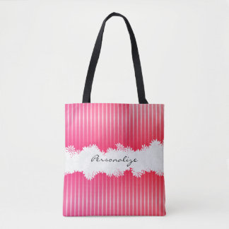 All Over Print Pretty Pink Stripes Tote Bag