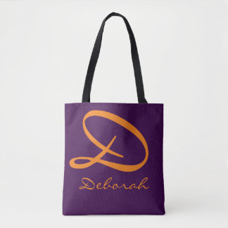 all-over-print purple tote bag with orange name
