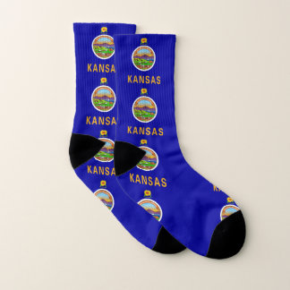 All Over Print Socks with Flag of Kansas 1