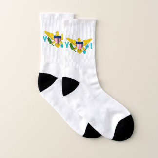 All Over Print Socks with Flag of Virgin Islands 1
