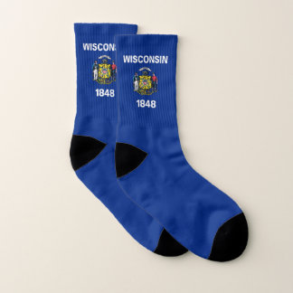 All Over Print Socks with Flag of Wisconsin 1