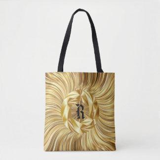 All Over Print Tote bag Gold  Black Monogram
