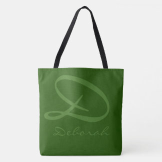 all-over-print two-tones green tote bag with name