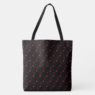 all_over_printed red musical notes on black tote bag
