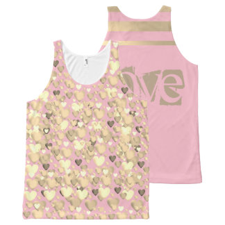 All-Over Printed Tank-Pink and gold, love designed All-Over-Print Tank Top