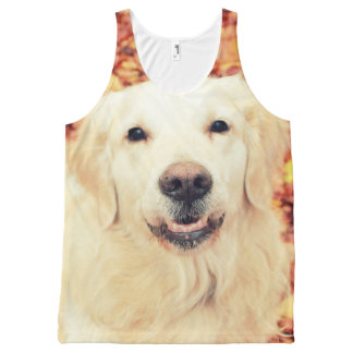 All-Over Printed Unisex Tank with Golden Retriever