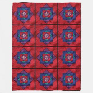 All Over Quilt Square Monogram Fleece Blanket