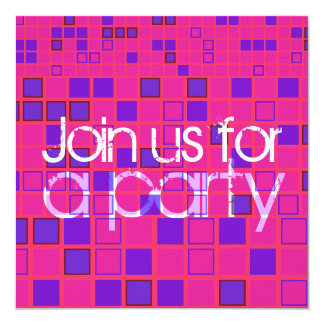 All Party Invitation Pink Purple Mosaic