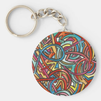 All Paths End There-Abstract Art Hand Painted Basic Round Button Keychain