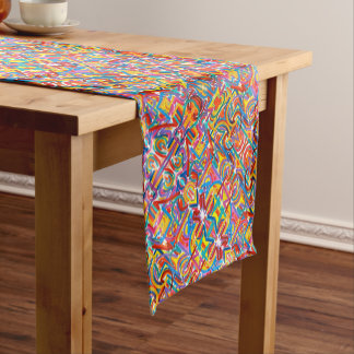 All Paths End There-Hand Painted Abstract Pattern Short Table Runner
