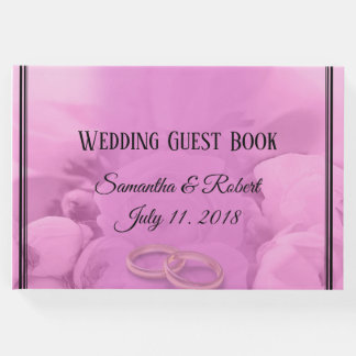 All Pink Floral Roses with Wedding Rings - Guest Book