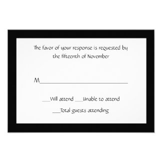 All Purpose Elegant Black and White Response Card Personalized Announcement