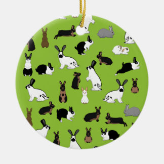 All rabbits ceramic ornament