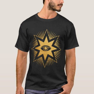 All Seeing Eye Gold Freemasonry Symbol T-Shirt