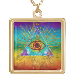 All Seeing Eye Of God - abstract sketchy Art Gold Plated Necklace