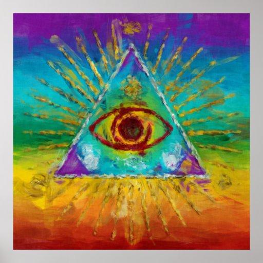 All Seeing Eye Of God - abstract sketchy Art Print