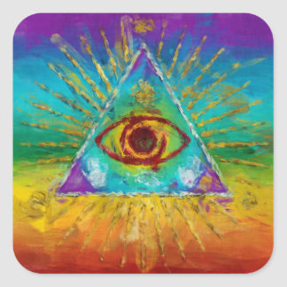 All Seeing Eye Of God - abstract sketchy Art Square Sticker