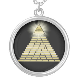 All Seeing Eye Pyramid 2 Silver Plated Necklace