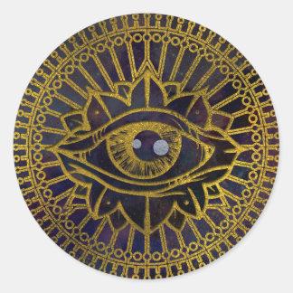 All Seeing Mystic Eye Gold on Nebula Sky Classic Round Sticker
