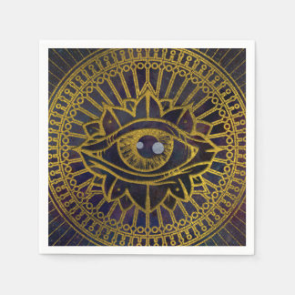 All Seeing Mystic Eye Gold on Nebula Sky Disposable Napkins