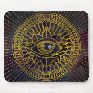 All Seeing Mystic Eye Gold on Nebula Sky Mouse Pad