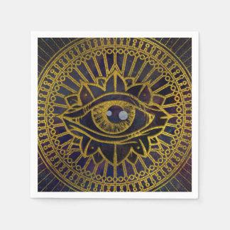 All Seeing Mystic Eye Gold on Nebula Sky Paper Napkin