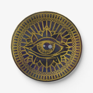 All Seeing Mystic Eye Gold on Nebula Sky Paper Plate