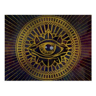 All Seeing Mystic Eye Gold on Nebula Sky Postcard